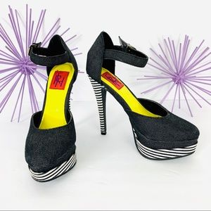 FRH /Black Jean Striped Double Platform Strap Heel